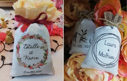 Sachets de lavande pour Mariage, impression personnalisée