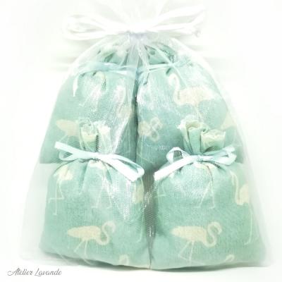 Sac en organza de 4 Sachets de lavande de Provence avec tissus imprimé motif flamands