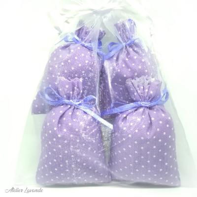 Sac en organza de 4 Sachets de lavande de Provence avec tissus imprimé motif floral Lilas