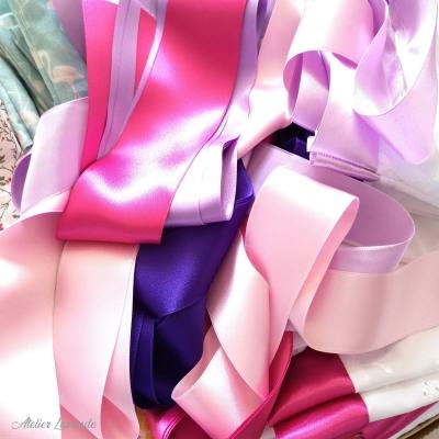 Ruban de satin coloré pour sachets de lavande XL en coton brodé