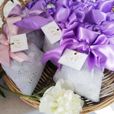 sachets de lavande XL pour baptême ou mariage en coton brodé