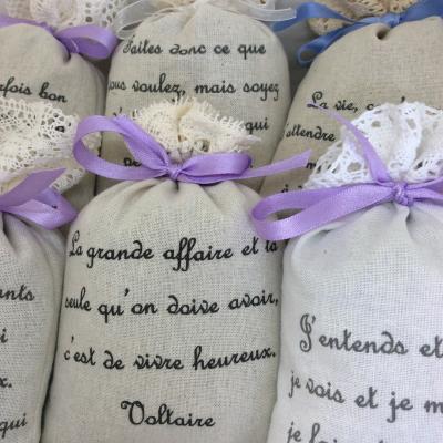 Sachet de lavande avec citations poétiques et philosophiques